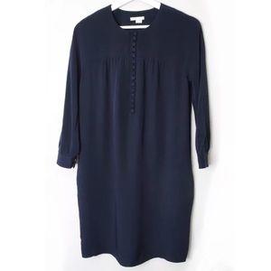 VINCE Navy Blue Long Sleeve Silk Tunic Shift Dress